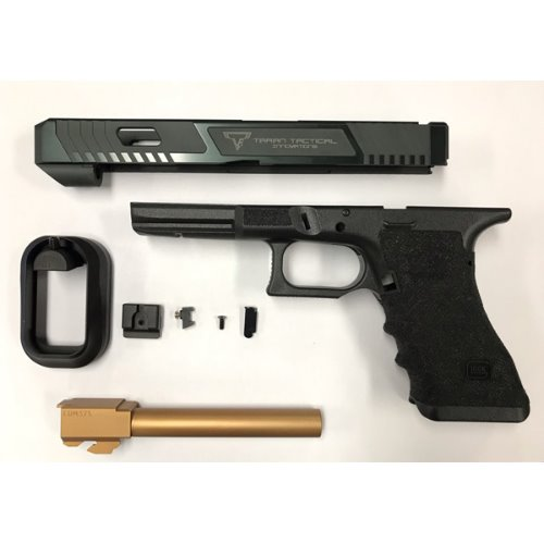 Nova T-style G34 Aluminum Slide ( Deluxe Kit ) for Marui Arisoft G17 / 34 GBB series - Shiny Black